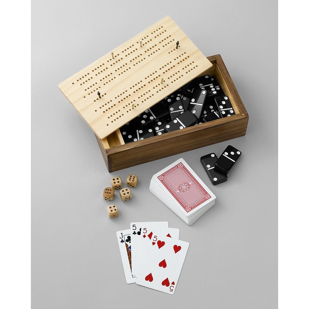 Entertainment Eddie Bauer 10-in-1 Game Set - This fine game set provides hours of family fun with dominoes, cribbage, dice, cards, and more - all housed in a wooden box. - $9.99