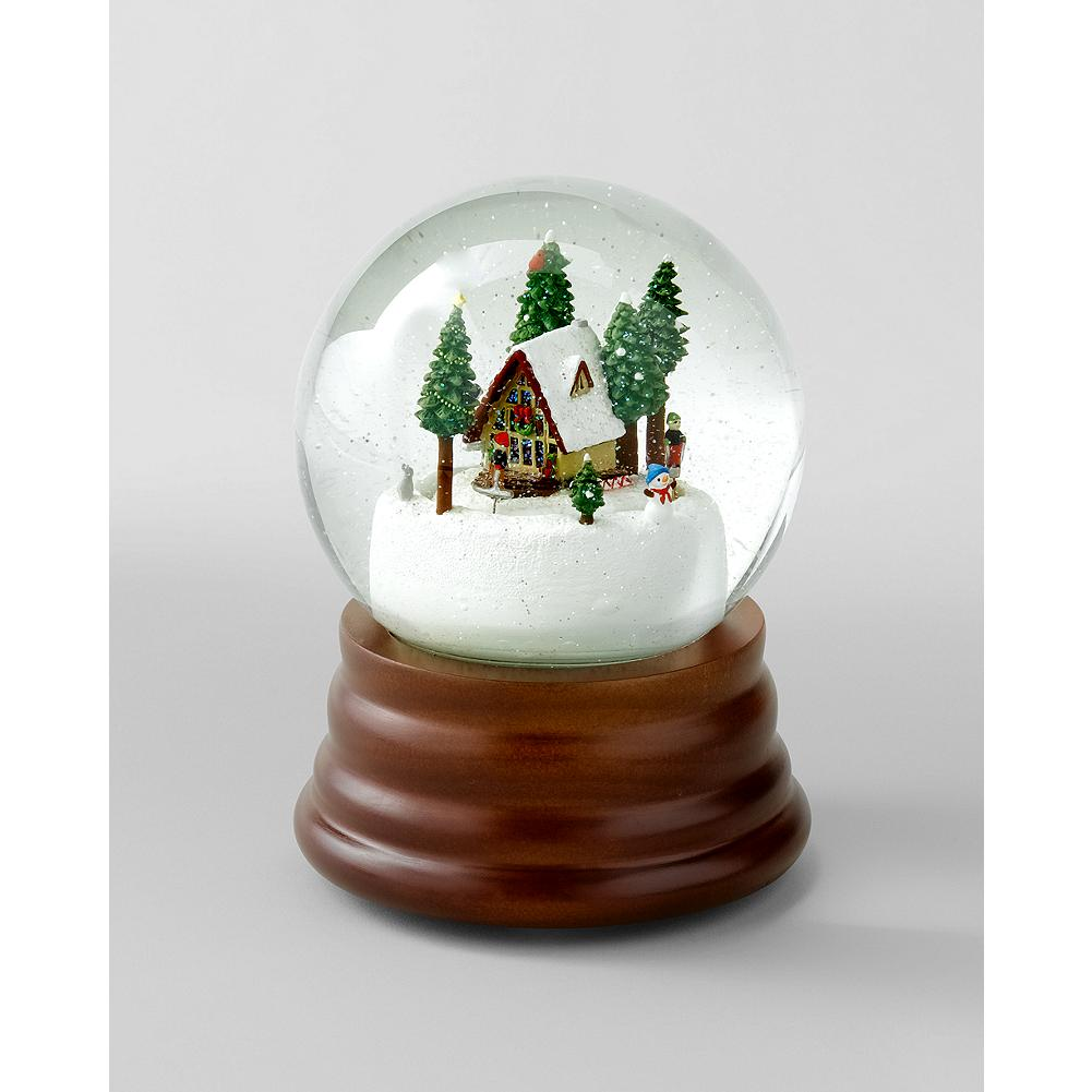 "Entertainment Eddie Bauer 2012 Snowglobe - The 2012 collectible holiday snowglobe depicts three cross-country skiers and a festively decorated A-frame house that lights up when the globe plays ""The Christmas Song."" - $19.99"