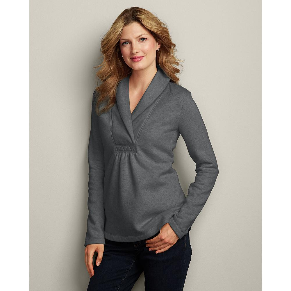 Eddie Bauer Slub Fleece Pullover - Ultra comfortable, cozy, and softly textural, this shawl-collared pullover can pair with our traditional fleece cargo pants, jeans, or other casual wear. - $9.99