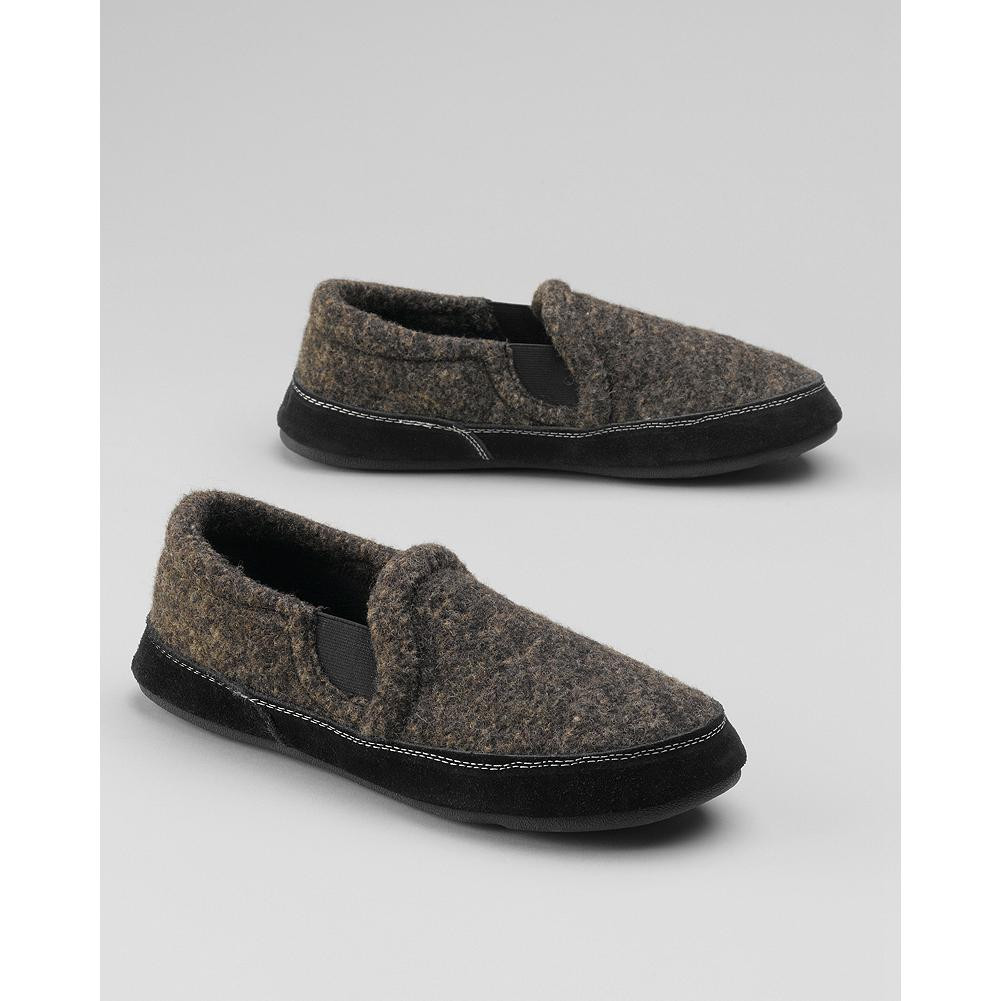 Entertainment Eddie Bauer Acorn Favorite Double-Gore Slippers - These wool-blend fleece-lined slippers feature a double-gore detail for good fit and easy on/off, and a weatherproof nonslip sole for indoor/outdoor wear. - $12.99
