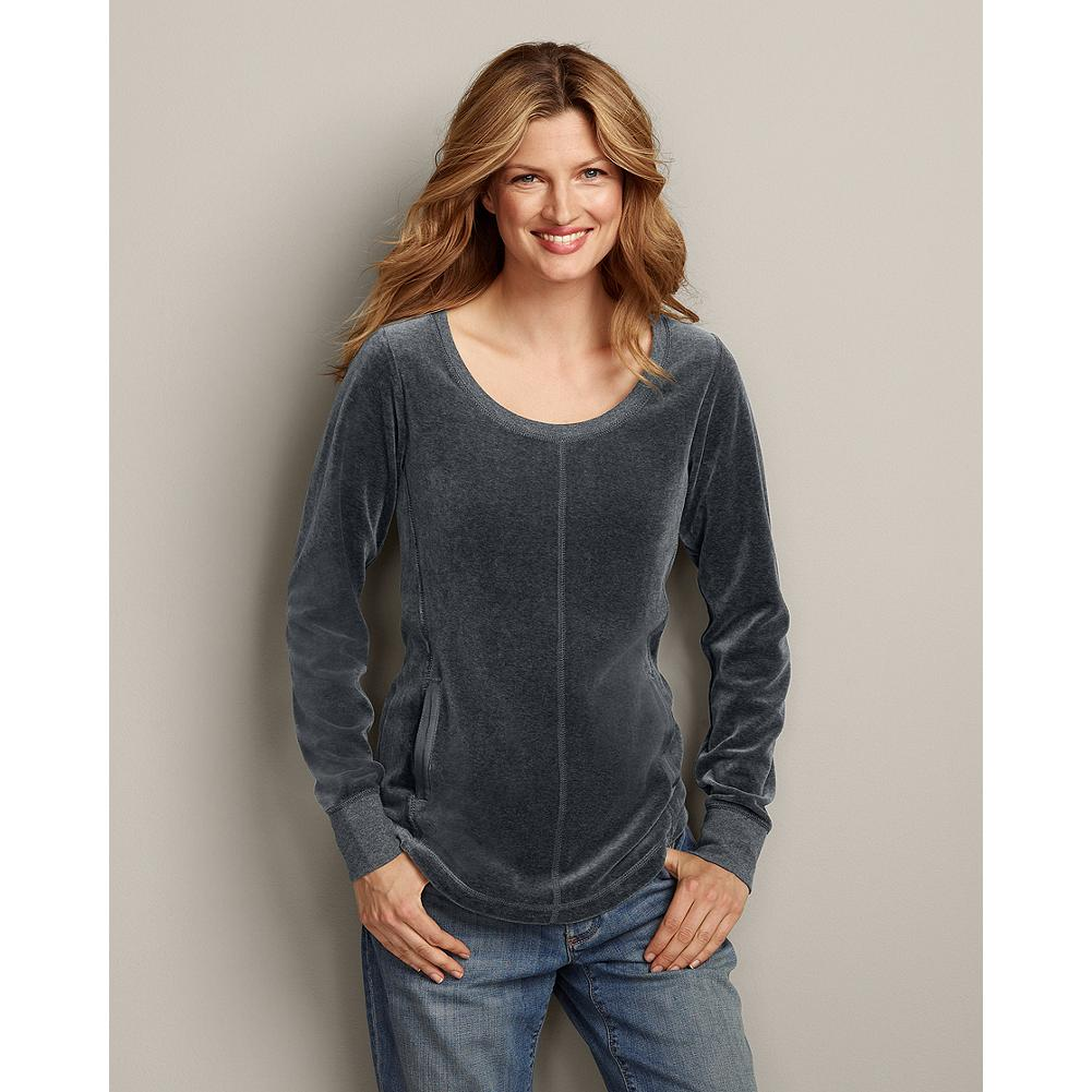 Eddie Bauer Velour Pullover - Our best-selling velour pullover is as exceptionally plush, soft and comfortable as ever. Updated with a scoop neck, flattering front princess seams, and a shirttail hem. - $19.99