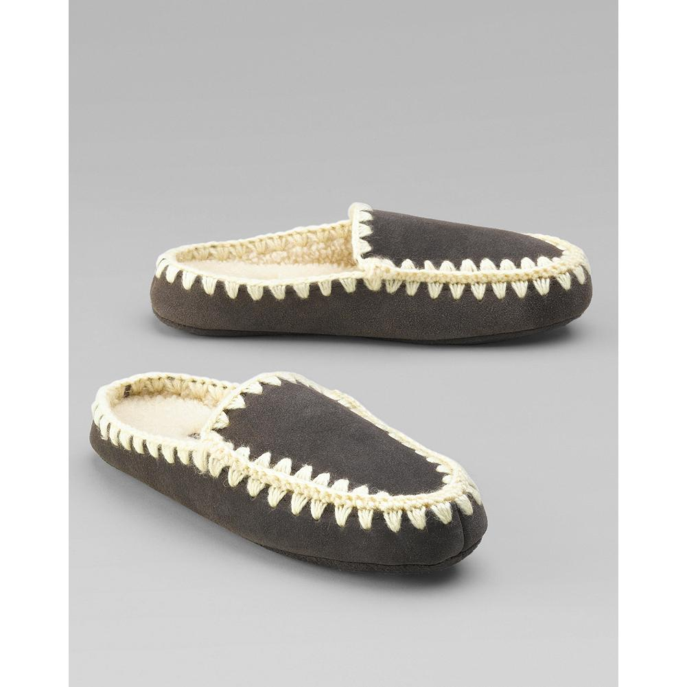 Entertainment Eddie Bauer Acorn Annika Mules - Distinctive suede slippers with hand-stitched yarn detail, fleece lining, and weatherproof soles. - $19.99