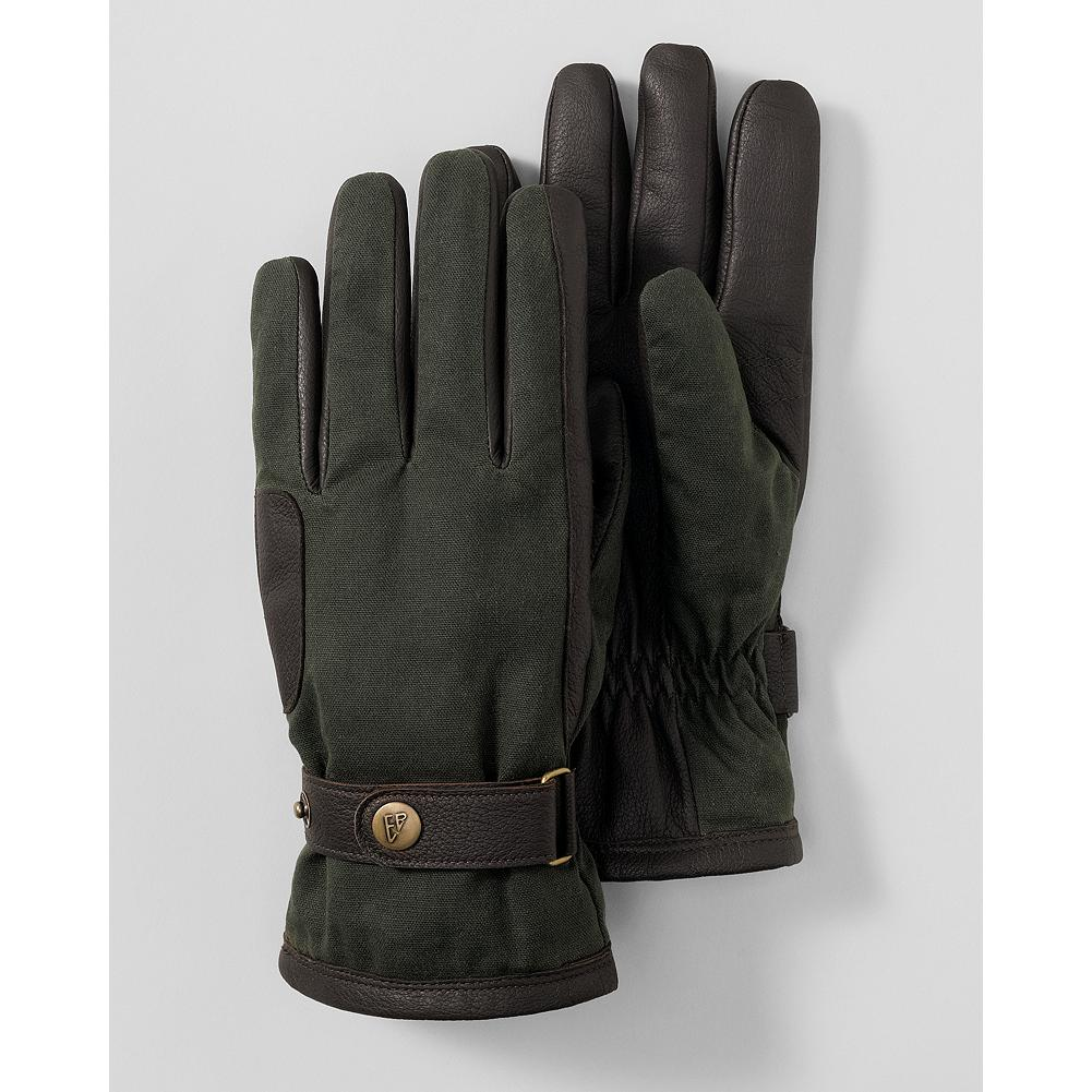 Eddie Bauer Waxed Canvas Rugged Gloves - Ruggedly stylish yet durable canvas-and-leather insulated gloves with a subtle Eddie Bauer logo on the wrist snap. - $11.99