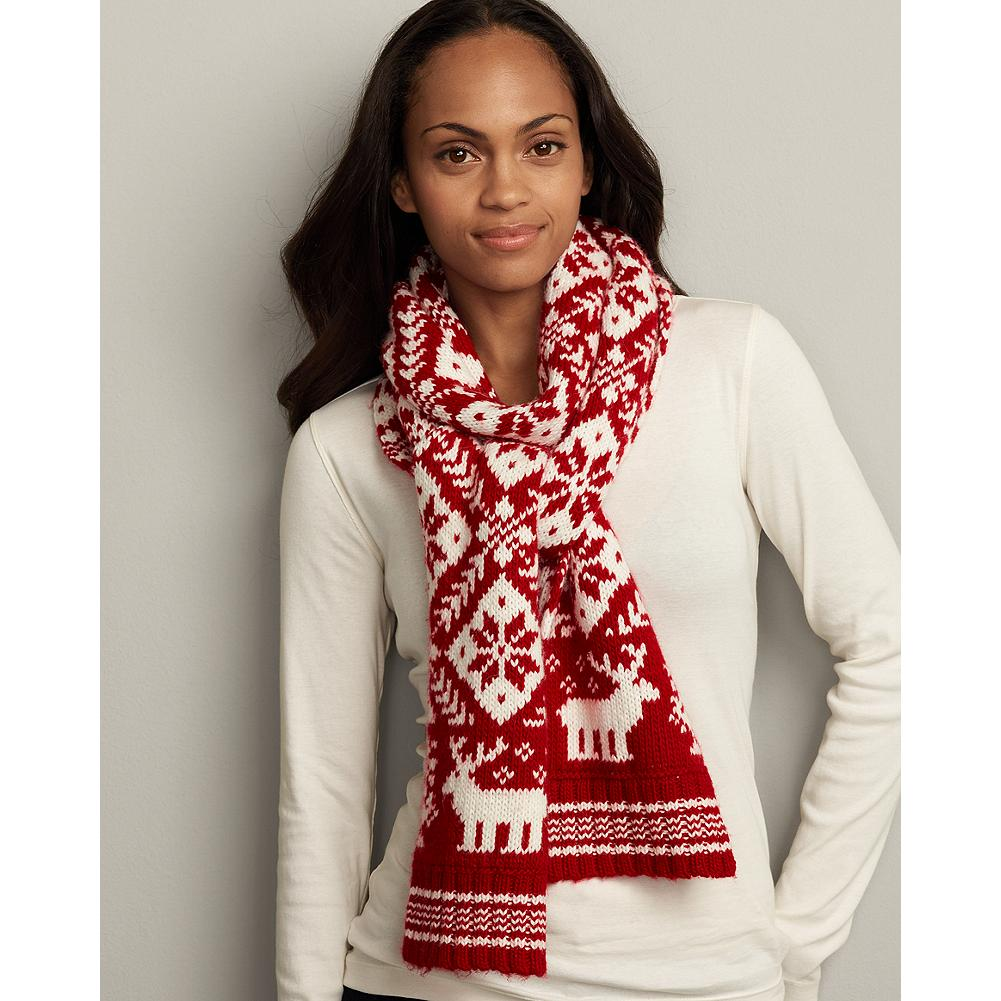 Eddie Bauer Reindeer Snowflake Knit Scarf - Destined to become a favorite, this scarf features a traditional snowflake design with whimsical reindeer trim. - $11.99