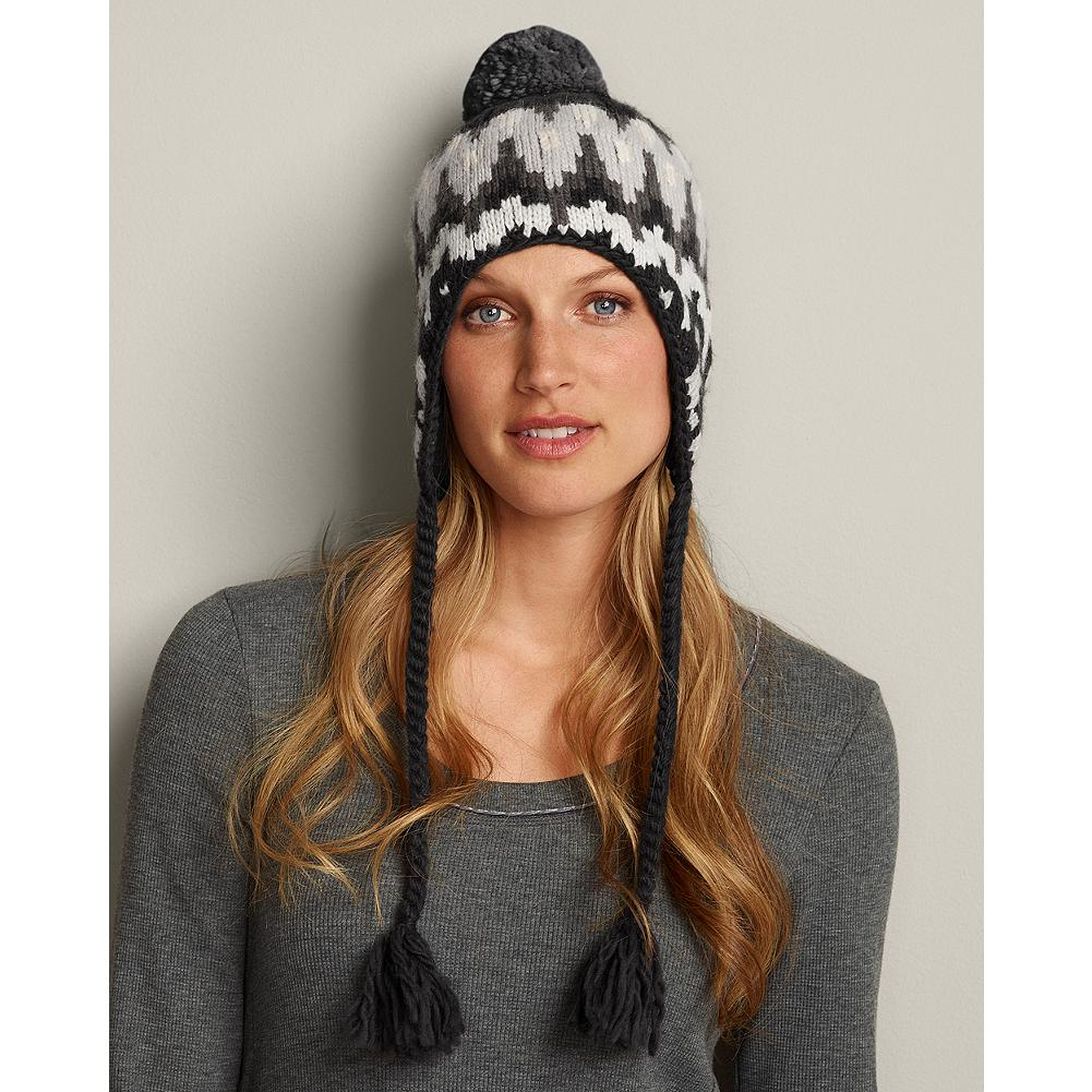 Eddie Bauer Nordic Knit Pom Hat - Cozy, substantial luxe-knit hat features traditional pattern and polar fleece lining. - $11.99