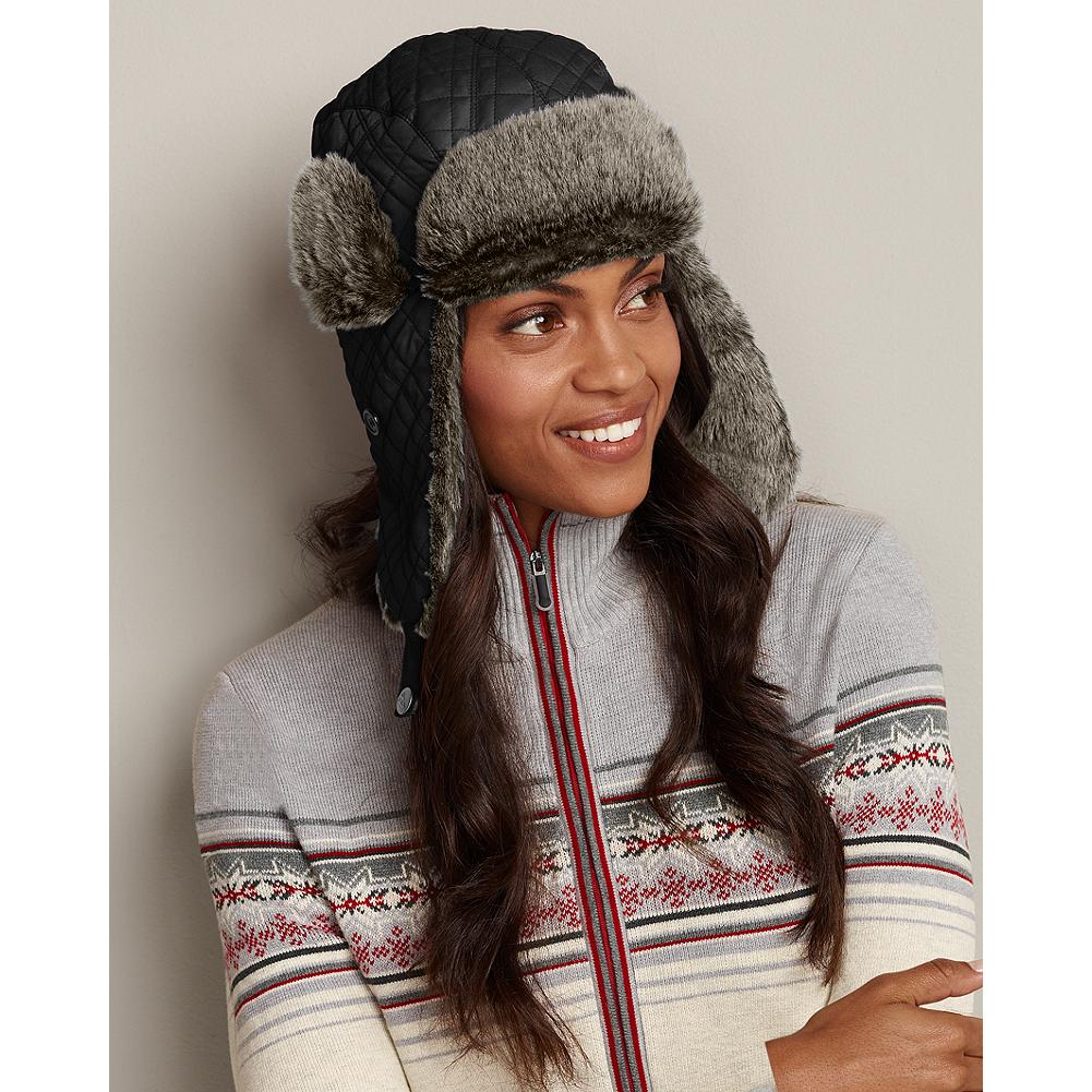 Eddie Bauer Quilted Down Hat - Our best-selling winter hat features signature diamond stitching, faux-fur trim, and 550 fill Premium European Goose Down. - $9.99