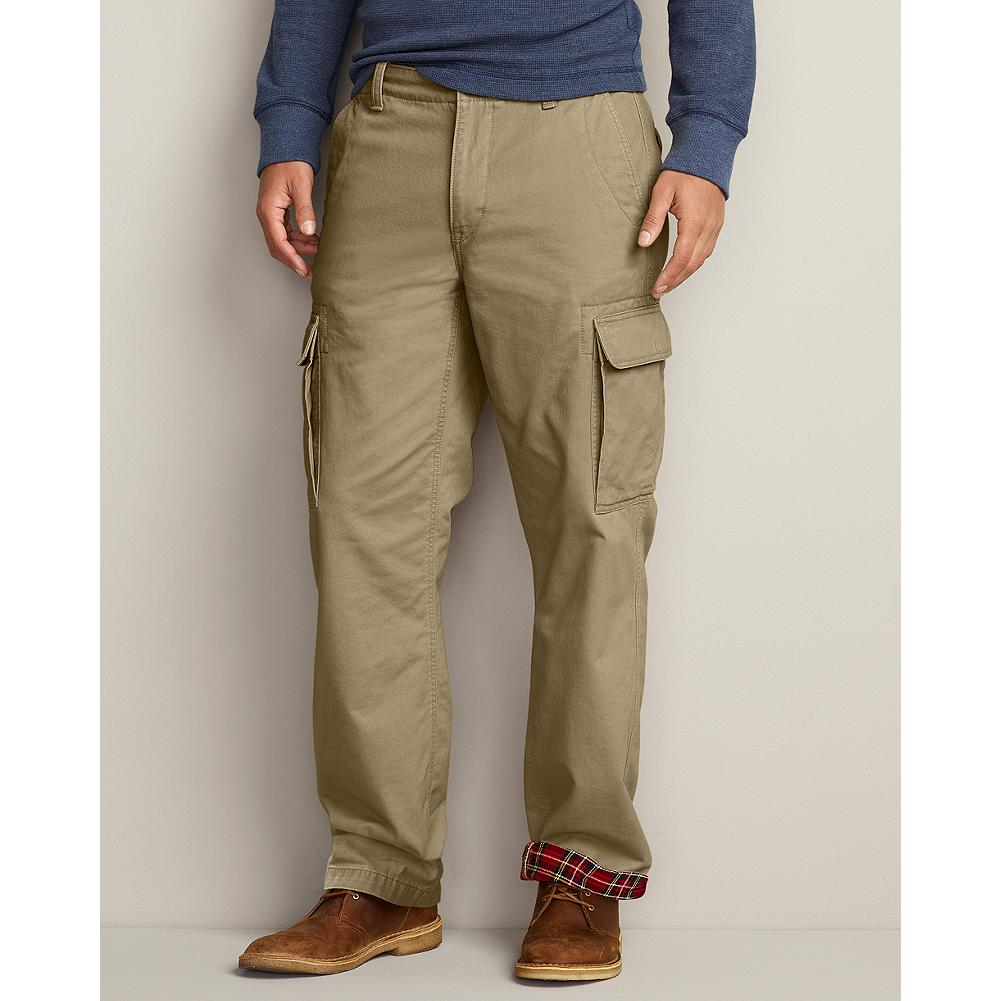 Eddie Bauer Relaxed Fit Flannel-Lined Cargo Pants - Soft flannel lining makes these cargo pants a great cold-weather option. - $29.99