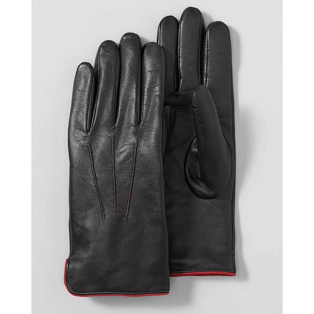 Eddie Bauer Leather Gloves - Polished and refined, these supple leather gloves feature contrast-color top stitching and wrist piping for a pop of color. - $29.99