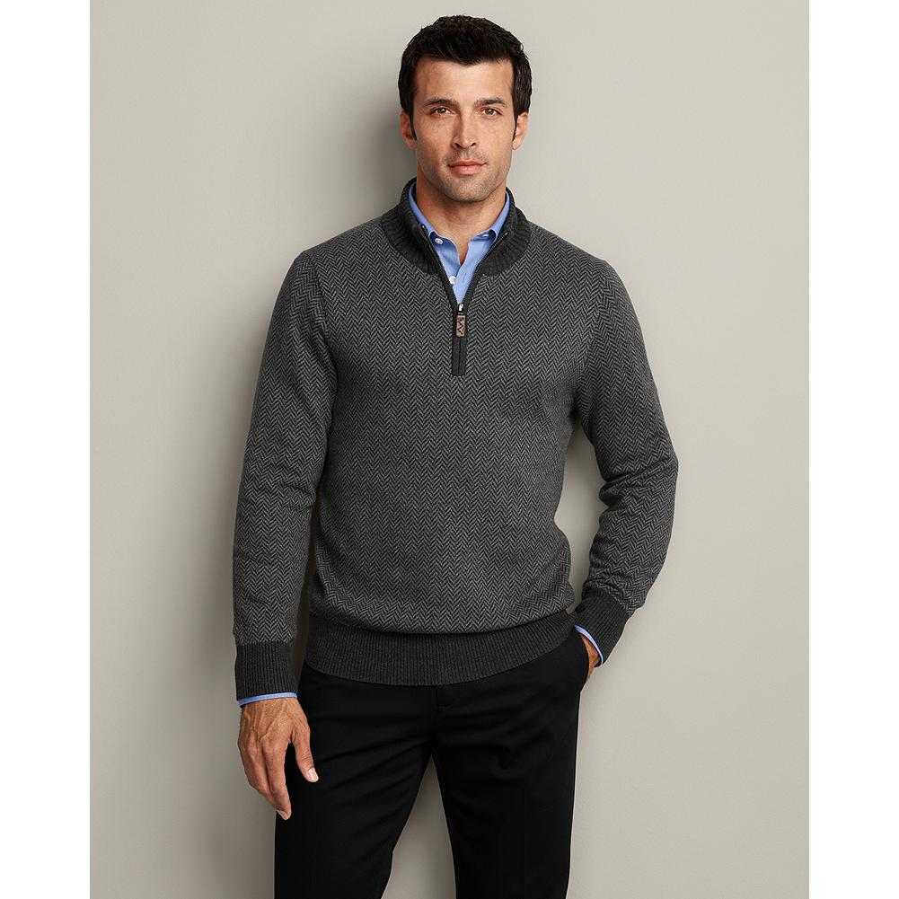 Entertainment Eddie Bauer Sportsman Cotton/Cashmere Herringbone Quarter-Zip Sweater - A beautiful herringbone pattern knit gives this quarter-zip sweater an elevated sportsman feel. Our cotton and cashmere sweaters are the perfect complement to our wrinkle-free dress shirts and more. - $19.99