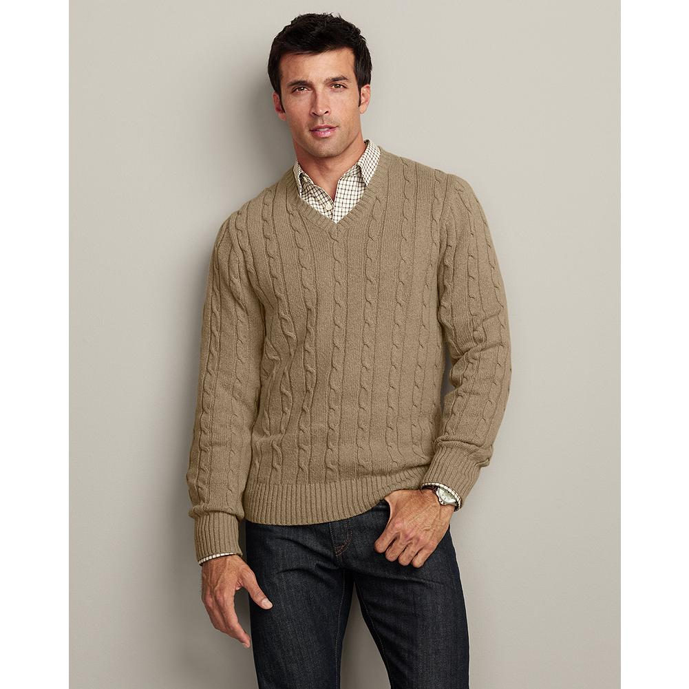 Eddie Bauer Highland Cable V-Neck Sweater - Our V-neck sweater boasts a handsome combination of richly textured classic cable and subtle, heathered yarns for a look that's both traditional and striking. - $19.99
