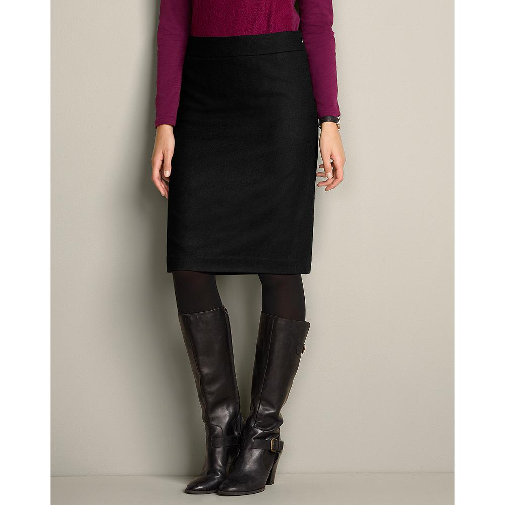 Eddie Bauer Mercer Wool-Blend Solid Boot Skirt - This classically styled, fully lined and slightly A-line black wool skirt is the perfect length to pair with your tall boots. - $29.99