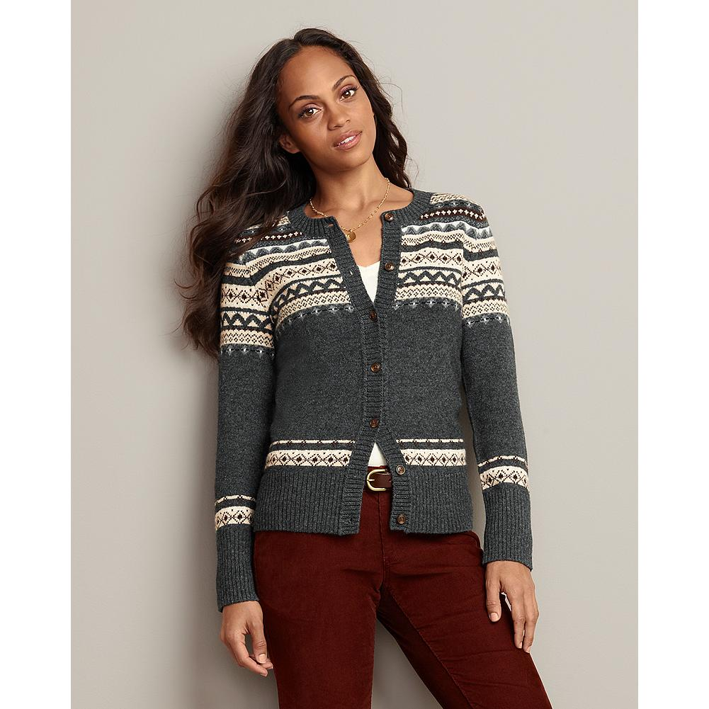 Eddie Bauer Fair Isle Jewel-Neck Cardigan - Rich hues highlight the traditional Fair Isle pattern of this button-front cardigan. - $19.99