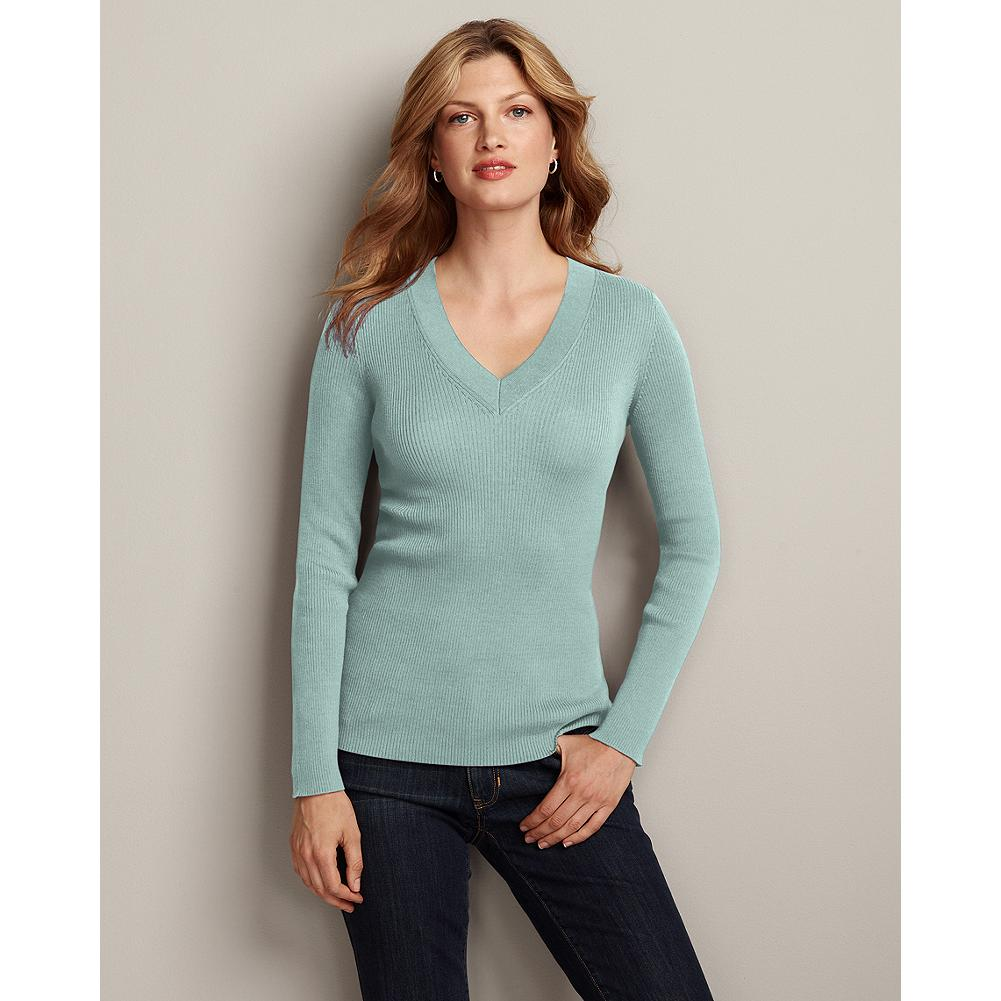 Eddie Bauer Medina V-Neck Pullover Sweater - Classic and versatile, this ribbed cotton V-neck pullover makes a fabulous foundation piece for your wardrobe. - $14.99