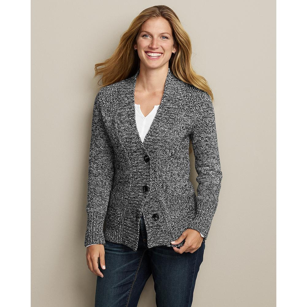 Eddie Bauer Cozy Marled Cardigan - This soft, heavier-weight cardigan is knit from two-color twist yarns for a striking, textural effect. - $19.99