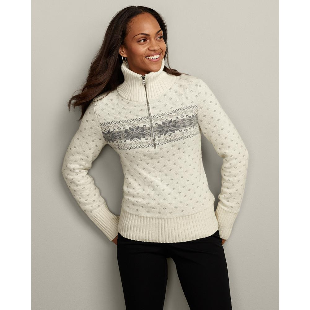 Eddie Bauer Snowflake Cotton-Blend Pullover - Our sporty, half-zip mockneck pullover features a jacquard knit snowflake pattern. - $19.99