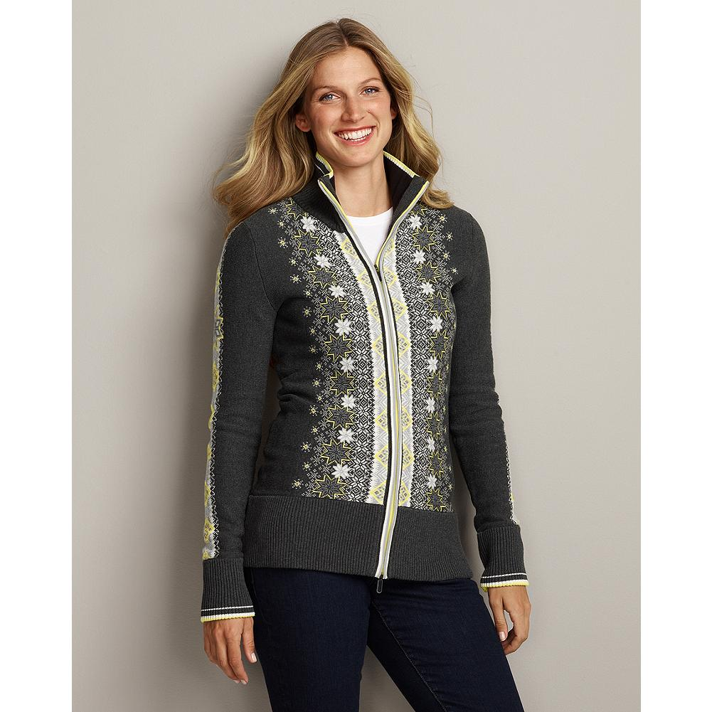 Ski Eddie Bauer Snowflake Zip Cardigan - The classic look of a vintage ski sweater makes this densely knit, compact, combed-cotton cardigan both sporty and stylish. The festive, bird's eye jacquard pattern on the front is repeated on the back, with a similar pattern on both sleeves. - $19.99