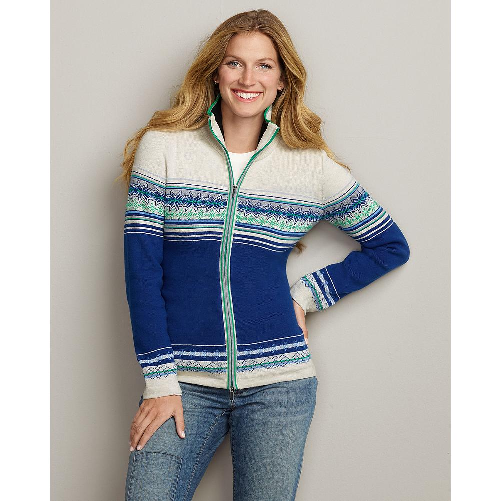 Ski Eddie Bauer Color Block Zip Cardigan - The classic look of a vintage ski sweater in a dense combed-cotton knit, with patternwork on the front and back, and a sporty two-way zipper. - $29.99