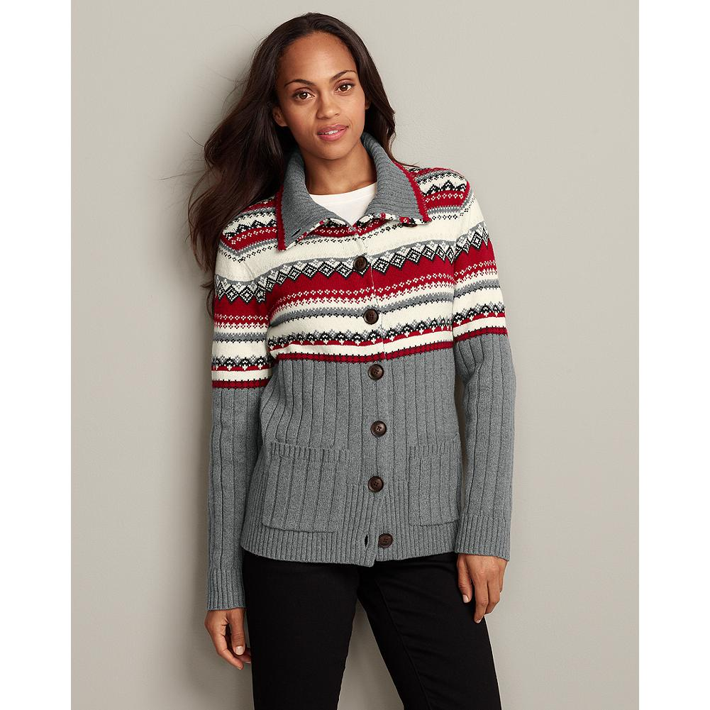 Eddie Bauer Fair Isle Mockneck Cardigan - This thick, mockneck cardigan features a distinctive jacquard Fair Isle pattern along the top, and wide ribbing on the bottom. - $19.99