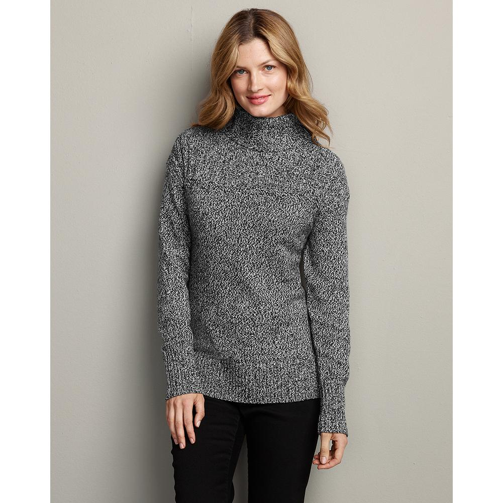Eddie Bauer Cozy Marled Funnel-Neck Sweater - Ultrasoft and cozy, our pullover funnel-neck sweater is knit with two-color twist yarns for a striking, textural effect. - $14.99