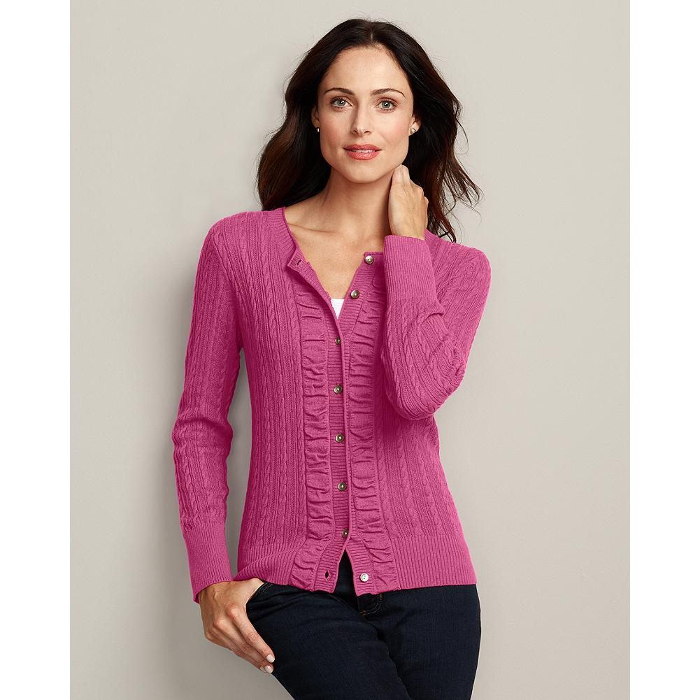 Eddie Bauer Ruched Cable Cardigan - Our bestselling cardigan sweater is more feminine and flattering than ever, with a classic silhouette that's perfect for layering, and pretty ruched detailing along the front placket. - $19.99