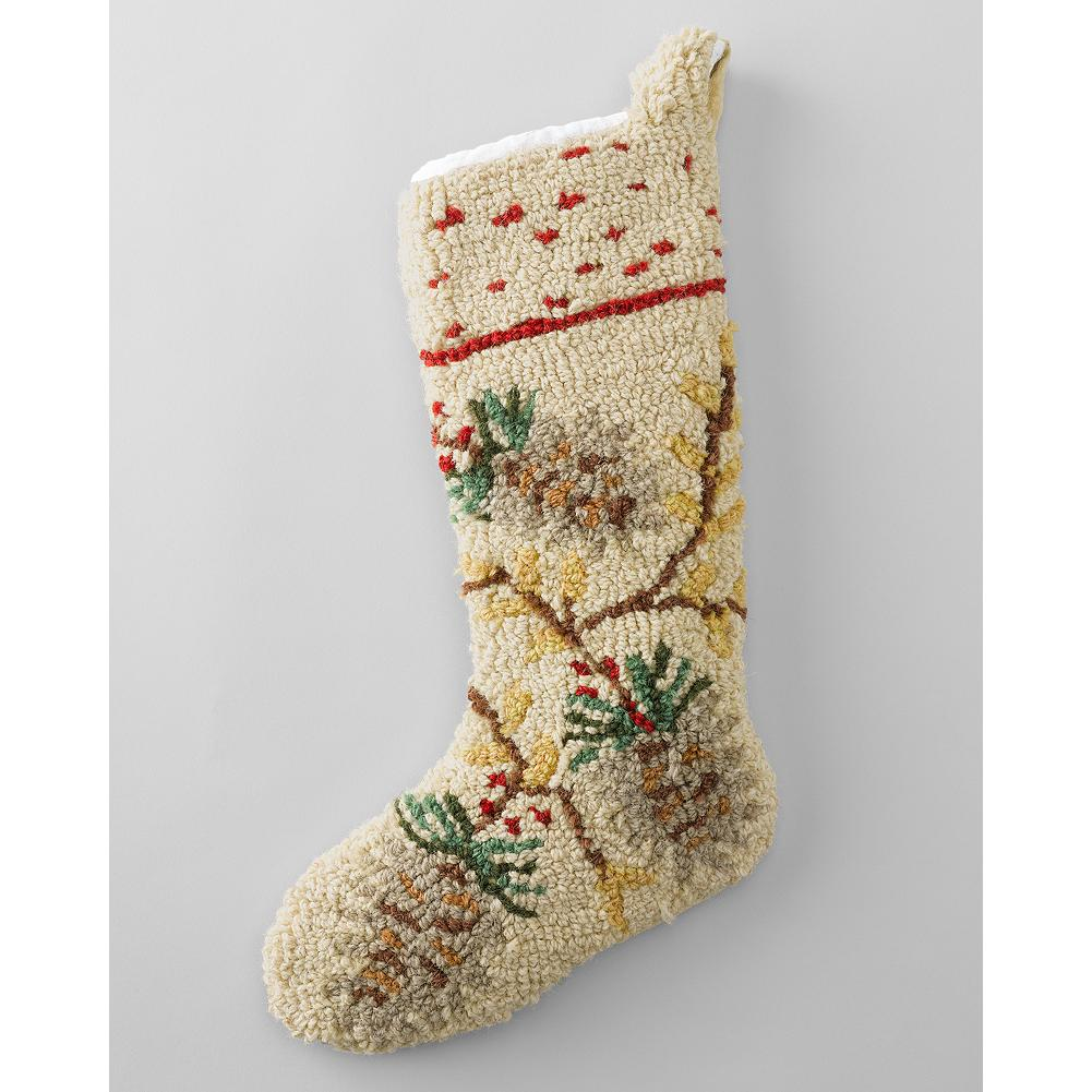 Entertainment Eddie Bauer Pine Cone Stocking - Festive pine cones decorate this hand-hooked holiday stocking made of pure New Zealand wool and backed in plush velveteen. - $14.99
