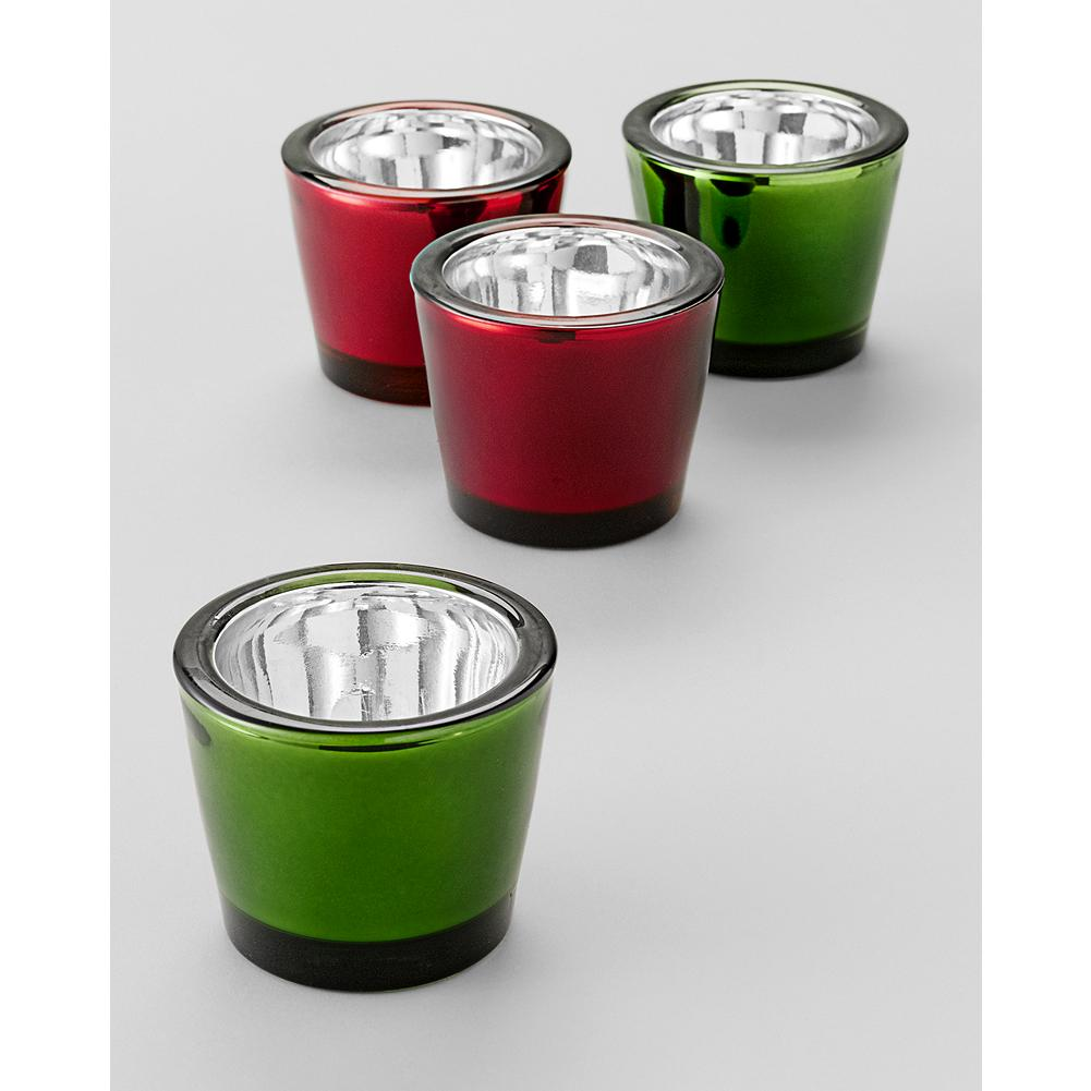 Entertainment Eddie Bauer Votives Set - Set of four silvered glass tea light votive holders in holiday colors will brighten your seasonal decor. - $5.99