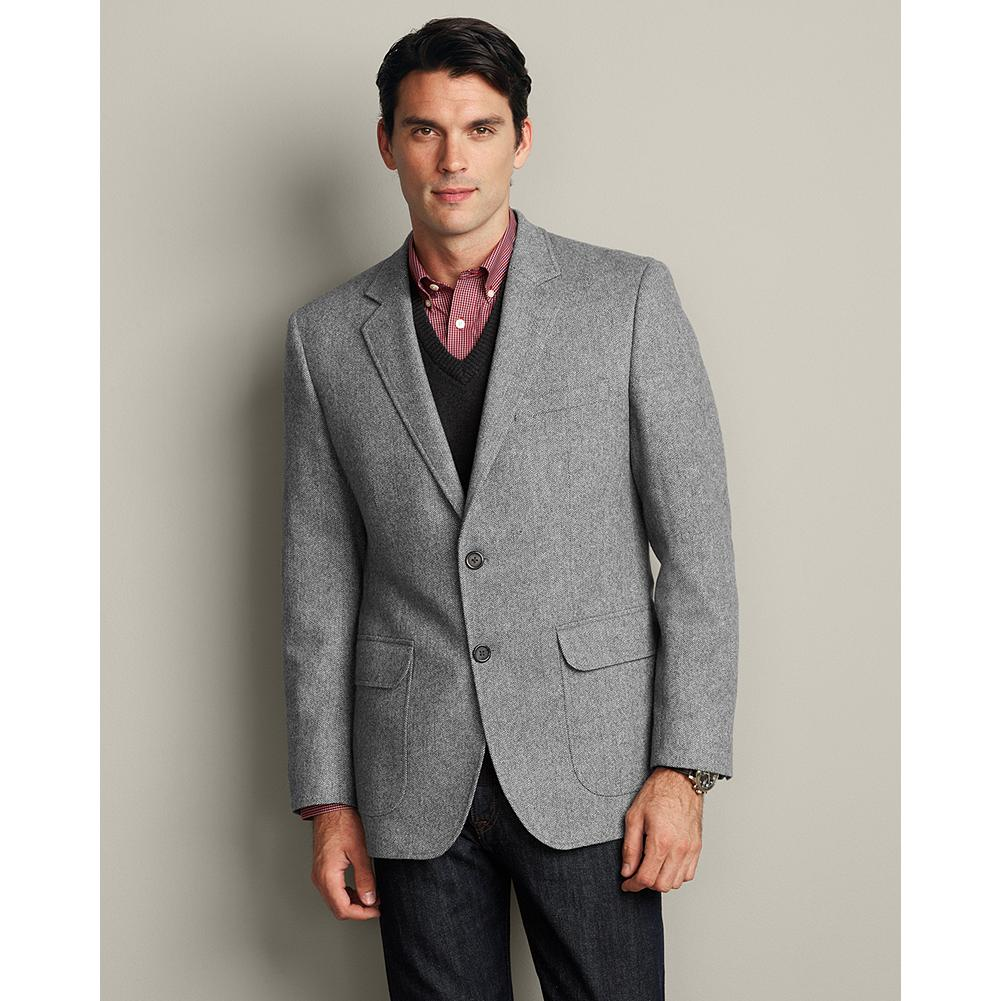 Entertainment Eddie Bauer Herringbone Wool Blazer - The classic, subtle herringbone pattern of this wool-blend blazer makes it easy to pair with dress or casual pants. - $179.99