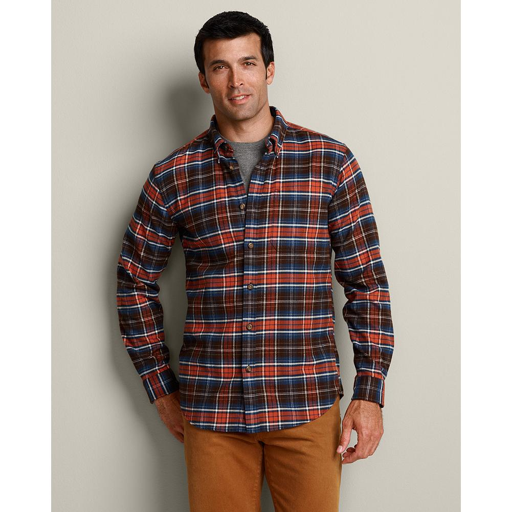 "Eddie Bauer Slim Fit Eddie's Favorite Flannel Shirt - The World's Best Flannel-since 2009-this is the softest, most durable flannel shirt you'll find anywhere, at any price. Developed especially for us, the brushed, 2-ply cotton flannel won't shrink, and it's specially treated to hold its shape and resist pilling and fading, even after 50 washings.  Our new Slim fit is our trimmest, proportioned for a modern look that's 2"" slimmer through the chest than our Classic fit. Like all our new fits, it's been reengineered for maximum comfort and easy movement, with back pleats, slightly larger sleeves at biceps/forearms, slightly deeper armholes, ample body length, and a comfortable neck. (Please see Men's Size Chart for more information.) - $14.99"