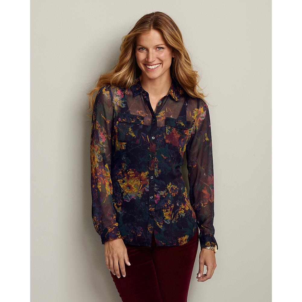 Eddie Bauer Sheer Print Crinkle Shirt - Rich, warm hues complement a soft floral pattern in this sheer, easy-draping shirt. - $19.99