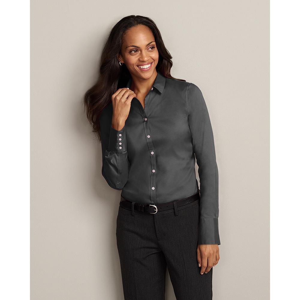 Entertainment Eddie Bauer Wrinkle-Free Long-Sleeve Extended Cuff Solid Shirt - Your favorite no-wrinkles, no-worries shirt has a new more tailored silhouette for a sleek, feminine look that's easy to dress up or down. It's made of breathable, moisture-wicking cotton stretch fabric for exceptional comfort, and guaranteed to hold its wrinkle-resistance, shape and color for 50 washes - guaranteed. - $19.99