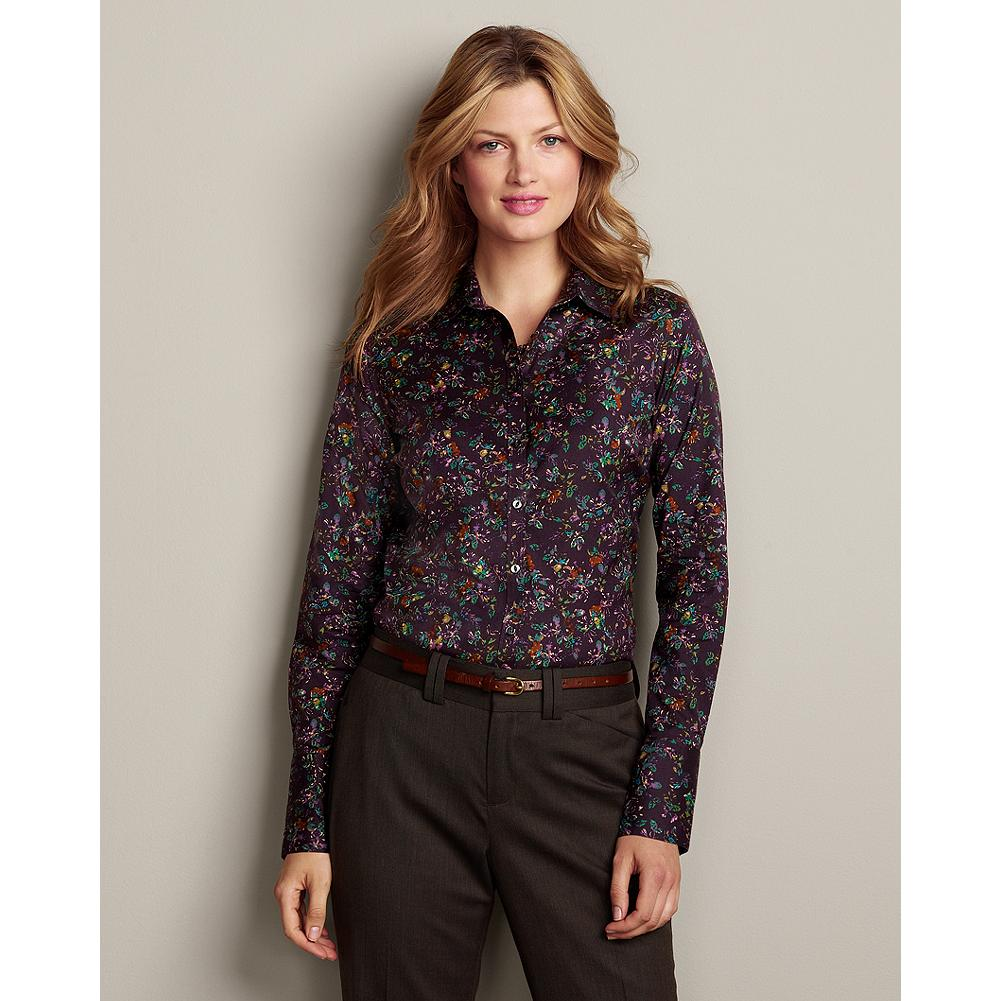 Eddie Bauer Wrinkle-Free Long-Sleeve Extended Cuff Patterned Shirt - Cotton stretch fabric with COMFORTCLOTH(TM) technology makes our wrinkle-resistant shirt highly breathable and moisture-wicking-so you stay supremely comfortable all day long. - $14.99
