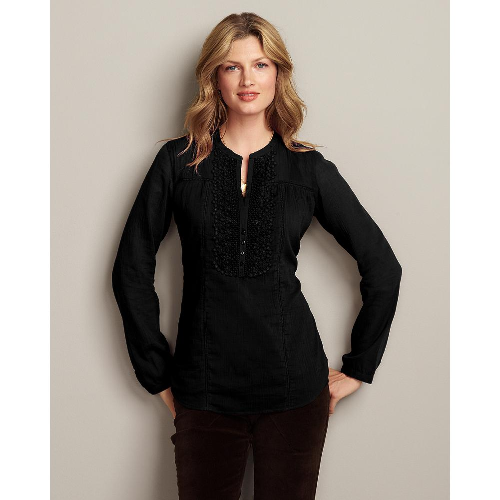 Eddie Bauer Feminine Lace Tunic - Soft crinkle gauze and elegant lace details make this tunic a perfect choice for the holidays. - $19.99