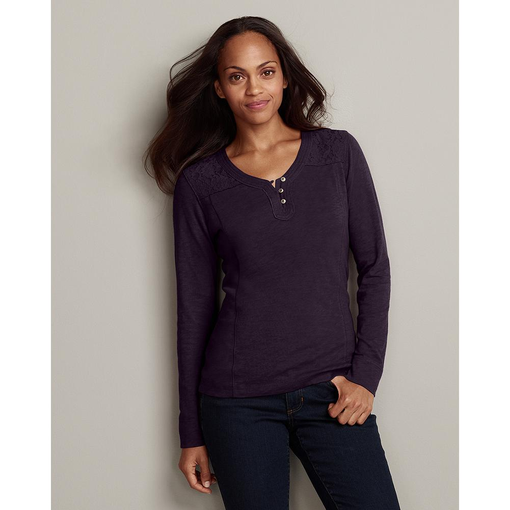 Eddie Bauer Slub Pieced Lace Henley - Pretty and feminine, our slub-textured henley features a rich range of fabric elements: floral lace, textured jersey and decorative stitch details. - $9.99
