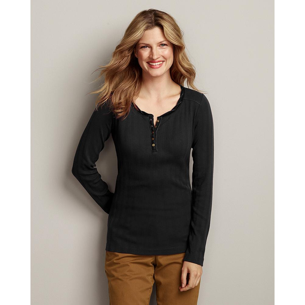 Eddie Bauer Velvet-Trimmed Ribbed Henley - This ribbed-cotton henley is one you'll reach for again and again. The ribbed texture and feminine seaming give it a flattering, shaped fit, and velvet trim at the neckline adds a pretty touch. In 7 rich seasonal shades. - $14.99
