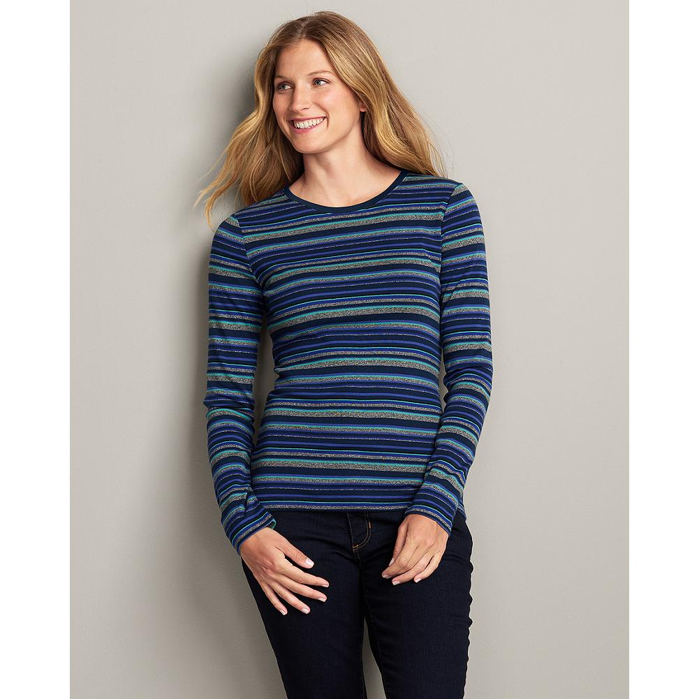 Eddie Bauer Favorite Striped Crewneck T-Shirt - An update to our Favorite Crewneck T-Shirt, horizontal stripes. Made of high-quality combed cotton with a smooth, soft finish that keeps pilling at a minimum, and a special dye process that keeps colors bright and true. - $6.99