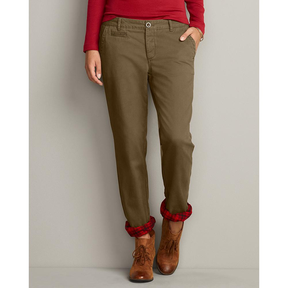 Eddie Bauer Boyfriend Legend Wash Flannel-Lined Chinos - Sits below natural waist. Relaxed hip and thigh. These easygoing, signature-soft chinos got a winter makeover: a full flannel lining that makes them the perfect weight for warmth, not bulk. - $19.99