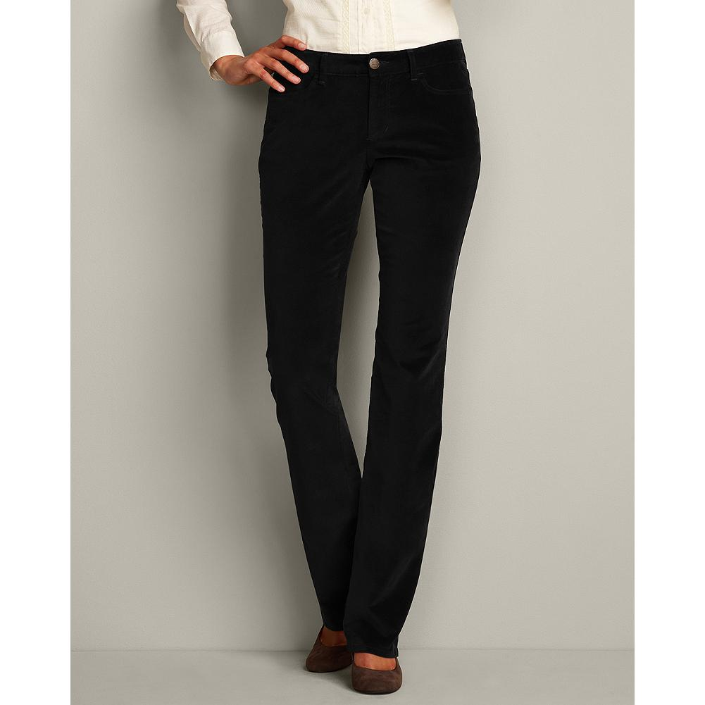 Entertainment Eddie Bauer Curvy Velveteen Boot Cut Pants - Smaller waist; mid-rise. Fuller hip and thigh. True hourglass body shape. These unlined stretch velveteen pants offer luxurious-feeling elegance that dresses up or down with ease. - $14.99