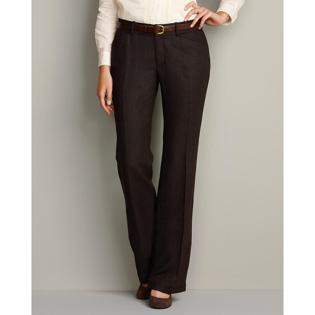 Entertainment Eddie Bauer Curvy Blakely Wool-Blend Trousers - Smaller waist; mid-rise. Fuller hip and thigh. True hourglass body shape. These fully lined, wool-blend trousers have a subtle tweed pattern and a flattering leg shape. - $29.99