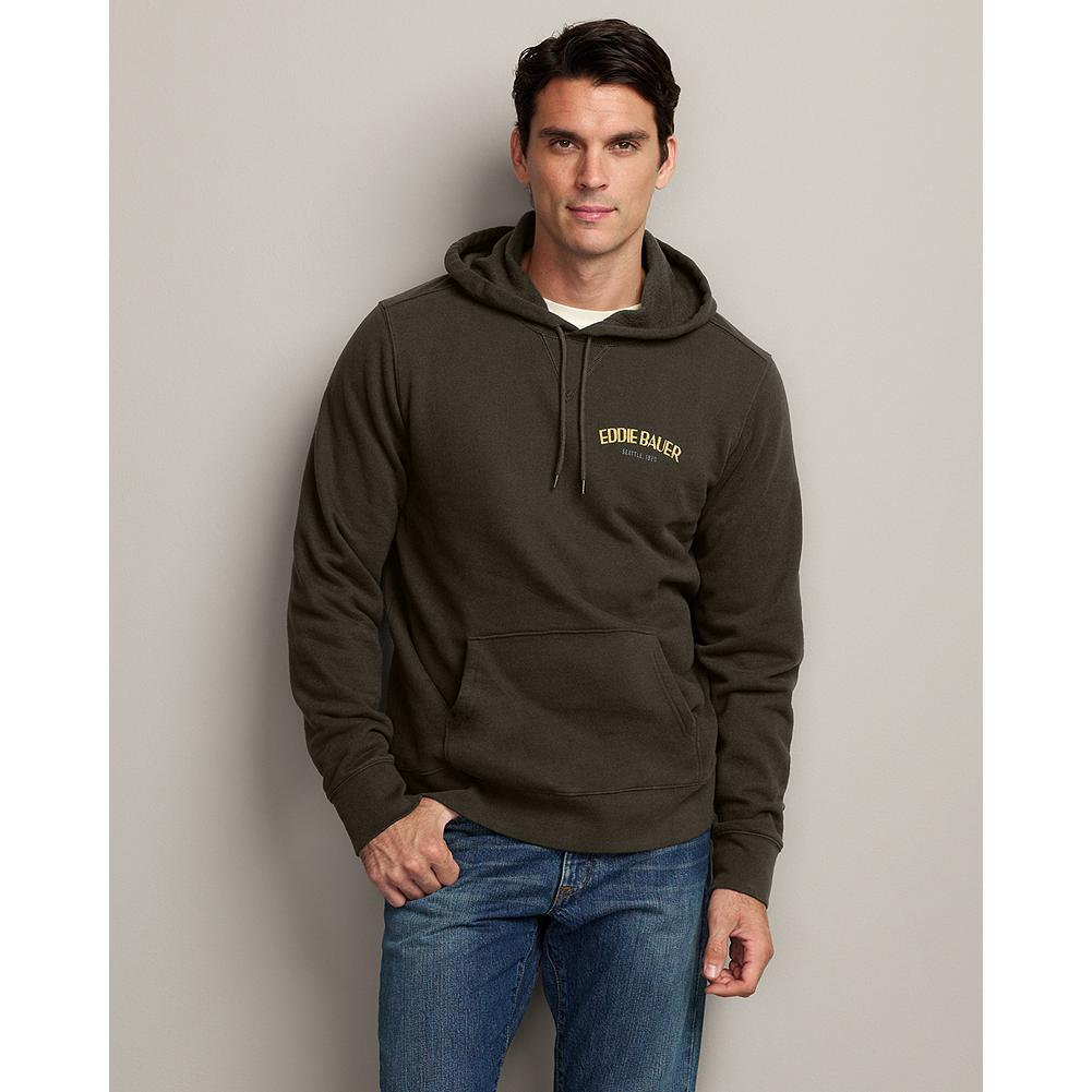Eddie Bauer Eddie's Signature Fleece Graphic Hoodie - This hoodie features a traditional sweatshirt look in the supersoft comfort of our premium fleece, proven superior to the competition in colorfastness, durability, and shrink-resistance. - $14.99