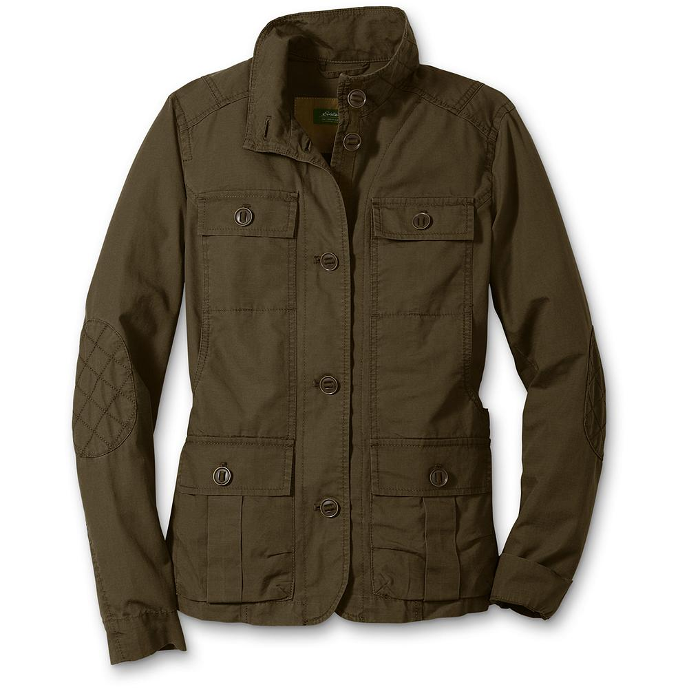 Eddie Bauer Stine Four-Pocket Field Jacket - The perfect lightweight jacket for all your spring and summer adventures. Made of ripstop cotton and garment-washed for a soft, vintage look. Reinforced diamond-quilt elbow patches and adjustable back buckle. Classic fit. Imported. - $27.99