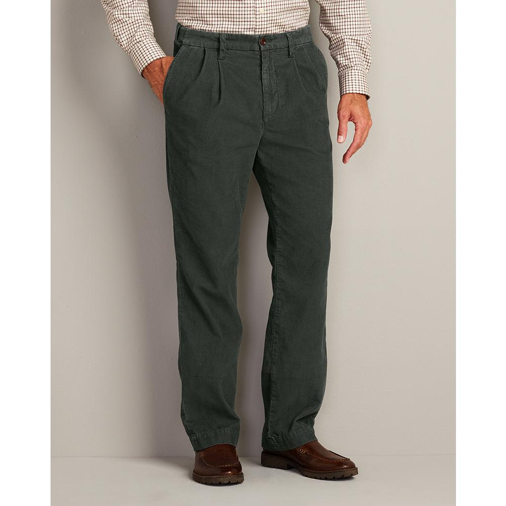 "Entertainment Eddie Bauer Classic Fit Pleated Corduroy Pants - Our plush 14-wale corduroy trousers dress up nicely and can go casual as well. Comfort waist adjusts up to 2"" on either side. - $19.99"