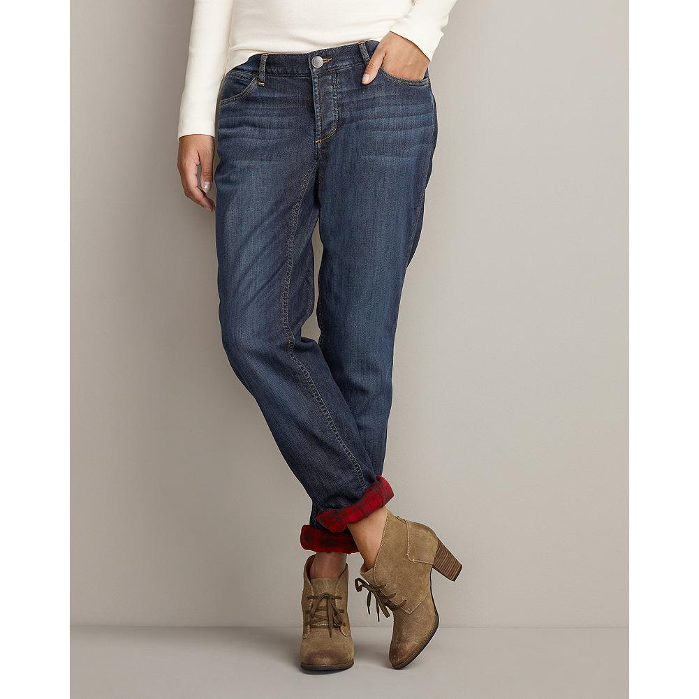 Eddie Bauer Boyfriend Flannel-Lined Jeans - We've lined-our popular boyfriend jeans with soft cotton flannel to keep you warm without ever feeling too bulky. Sits below natural waist; relaxed through hip and thigh. Straight leg. - $29.99