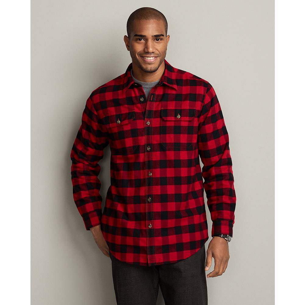 Eddie Bauer Relaxed Fit Fleece-Lined Flannel Shirt Jacket - What sets this robust shirt jacket apart are the fabrics: plush cotton Eddie's Favorite Flannel on the outside and wind-cutting polyester fleece lining in the body. - $19.99