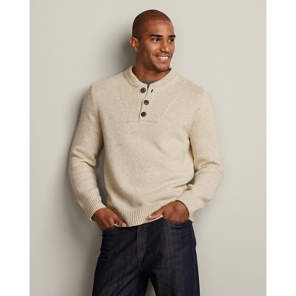 Eddie Bauer Ragg Bivi Sweater - True Eddie Bauer classics, our iconic ragg sweaters have been worn and loved by our customers for years. Our newest version blends a relaxed henley silhouette with a durable cotton, nylon and wool blend for the perfect balance of comfort, warmth and versatile style. - $29.99