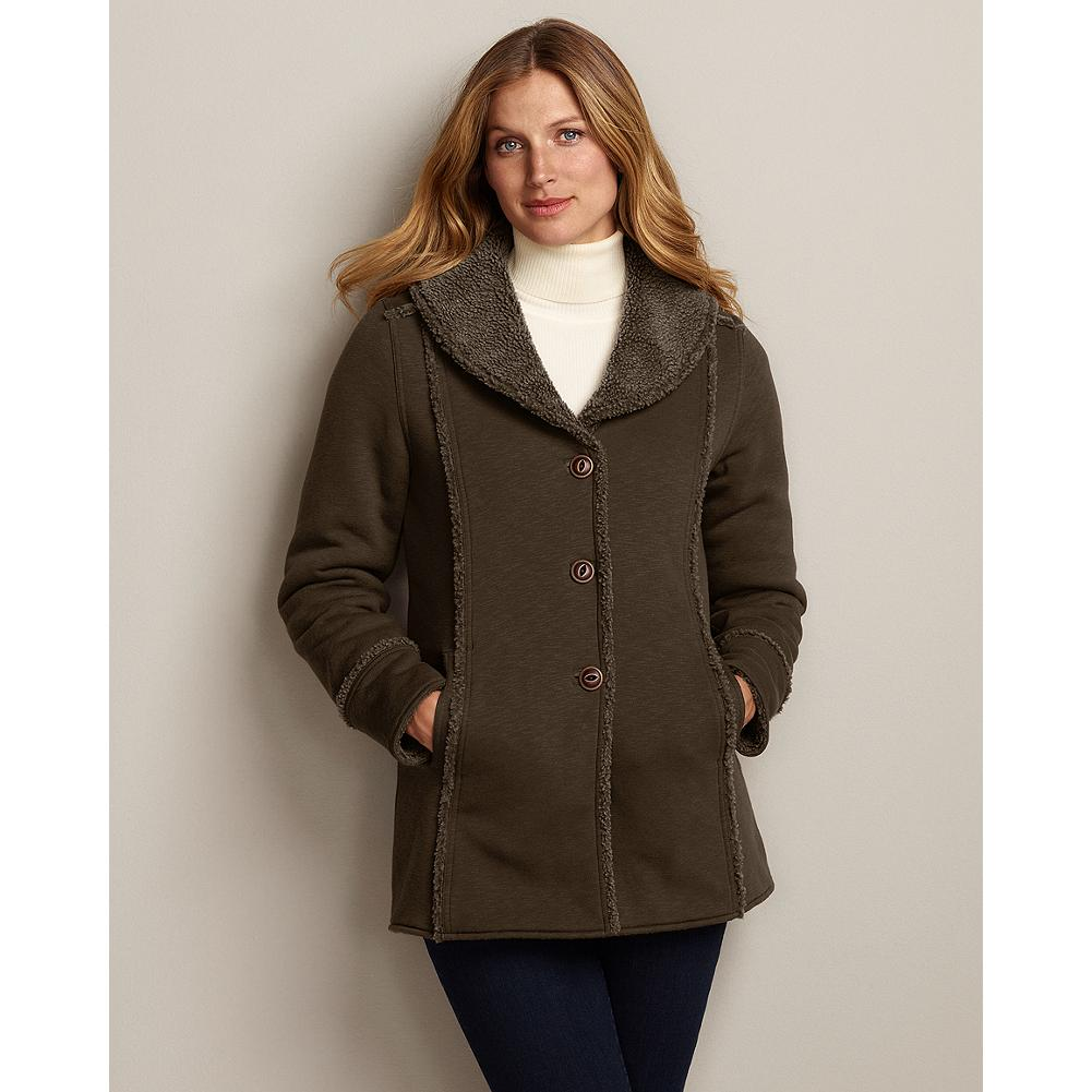 Eddie Bauer Reversible Sherpa-Lined Blanket Coat - Great value: Two coats for the price of one. Our cozy blanket coat reverses from smooth knit to soft, two-toned sherpa fleece, giving you two unique looks. - $59.99