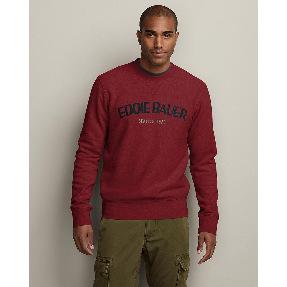 Eddie Bauer Eddie's Signature Fleece Graphic Crew - Our premium fleece sweatshirt delivers supersoft comfort, proven superior to the competition in colorfastness, durability and shrink-resistance, with a worn-in screenprinted graphic across the front. - $9.99