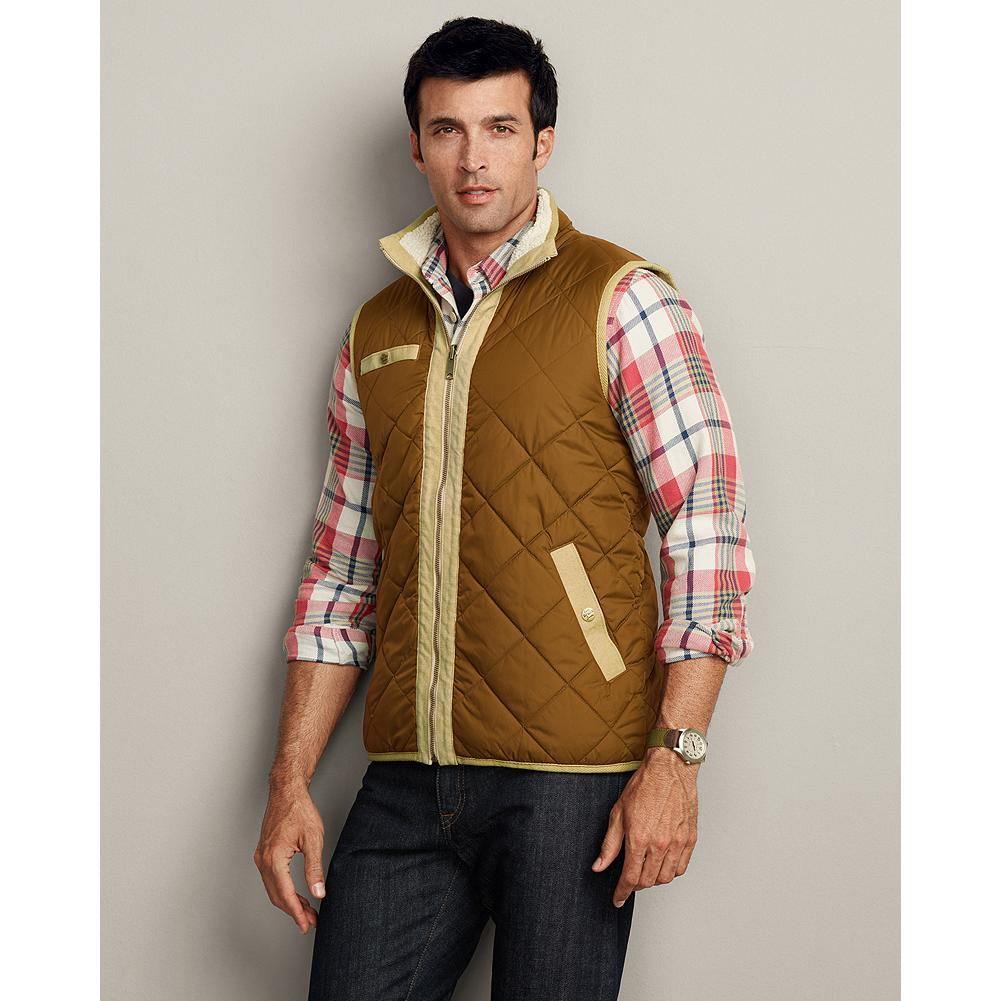Eddie Bauer Reversible Sherpa Fleece Vest - This fully reversible vest does double duty with polyester sherpa fleece on one side, diamond-quilted nylon on the other, and polyfill insulation. - $32.99