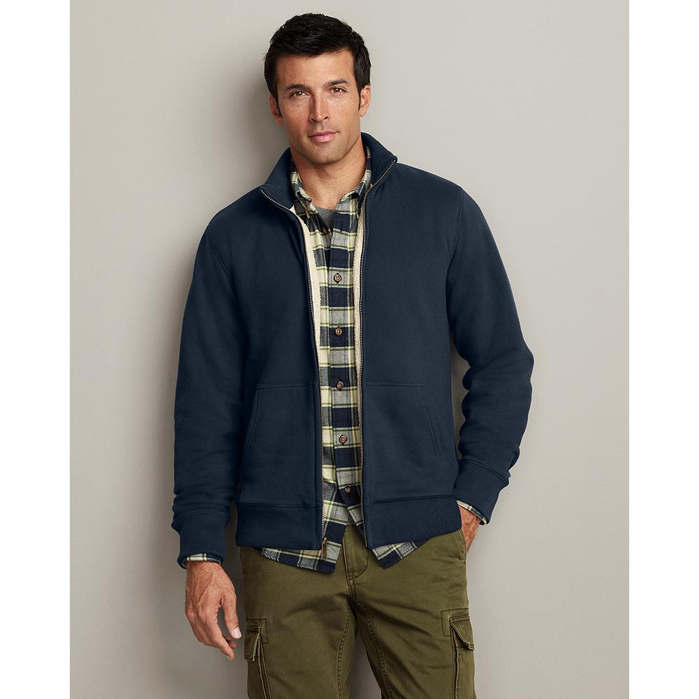 Eddie Bauer Sherpa-Lined Mockneck Jacket - Made with the same substantial, brushed cotton/polyester fleece as our Cabin Hoodie, and lined with the best high-pile Sherpa fleece for ultrasoft warmth. Mockneck collar, cuffs, and hem are rib-knit for a comfortable, snug fit and excellent shape retention. - $59.99