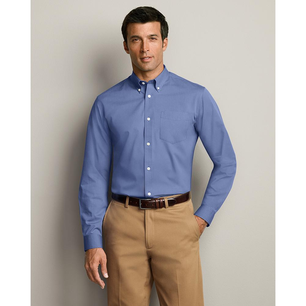 Entertainment Eddie Bauer Relaxed Fit Wrinkle-Free Pinpoint Oxford Shirt - Solid - Look and feel great all day long. Thanks to cutting-edge COMFORTCLOTH(TM) technology, this fabric provides superior breathability. It wicks moisture away from your skin, out to the surface where it quickly evaporates -- so you stay cool and comfortable all day. Plus, we've updated the fit on this shirt: it's been re-engineered in every size for maximum comfort and ease of movement. Cotton. Imported. Tested. Trusted.   Tested. Trusted. And Now Breathable Our wrinkle-free shirts turn in superior performance for shape and color retention, too -- even through 50 washes. We can say that because we tested them against the completion, and our shirts came our on top every time. It's proof that you can rely on their supreme comfort and premium quality -- guaranteed. - $49.99