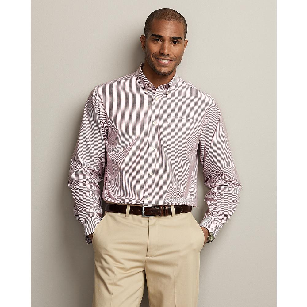 "Entertainment Eddie Bauer Relaxed Fit Wrinkle-Free Oxford Cloth Shirt - Pattern - Our anti-wrinkle technology keeps this great-looking button-down oxford shirt crisp and presentable, even when pulled from a duffel or overnight bag. It's tested and trusted to retain its wrinkle-free appearance, shape, and color for 50 washes-guaranteed, and our COMFORTCLOTH helps lift moisture away from skin, providing a higher degree of breathability and wicking performance.  Our new Relaxed fit is our most generous one, a roomy 2"" fuller through the chest than our Classic fit. Like all our new fits, it's been reengineered for maximum comfort and easy movement, with back pleats, slightly larger sleeves at biceps/forearms, slightly deeper armholes, ample body length, and a comfortable neck. (Please see Men's Size Chart for more information.) - $14.99"